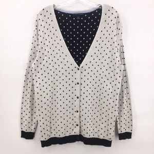 Tommy Hilfiger white navy dot cardigan sweater